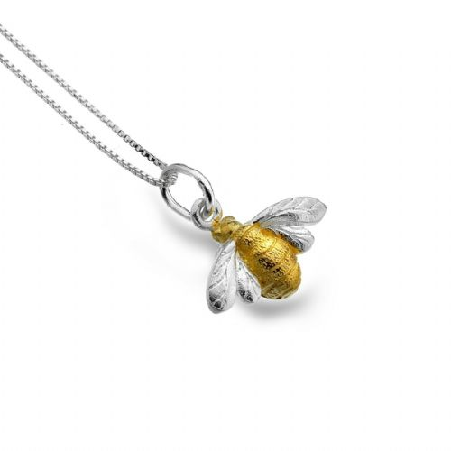 Golden Bumblebee Pendant Sterling Silver 925 Hallmark  All Chain Lengths